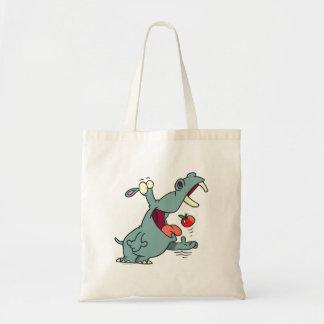 hipopótamo lindo que come el dibujo animado de la  bolsas de mano