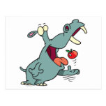hipopótamo lindo que come el dibujo animado de la postal
