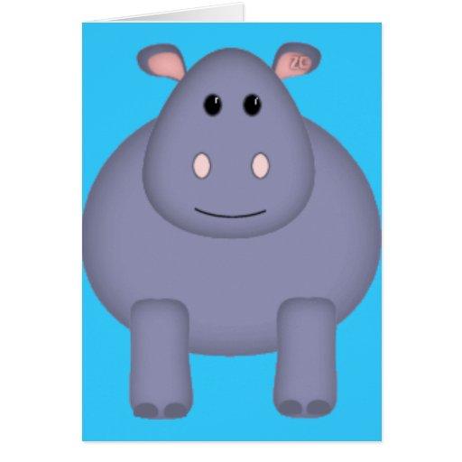 Hipopótamo lindo tarjeta de felicitación