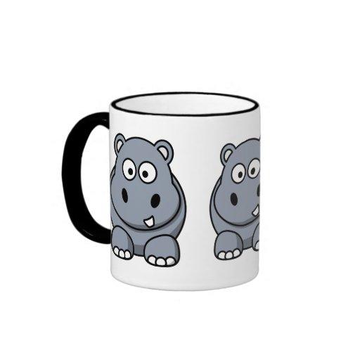 Hipopótamo lindo taza de dos colores