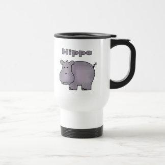 Hipopótamo lindo taza de viaje de acero inoxidable