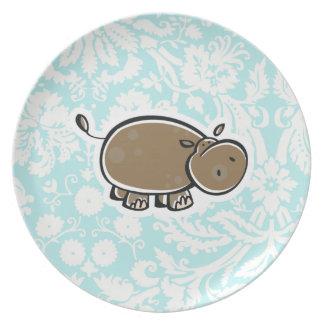 Hipopótamo lindo; Trullo Platos De Comidas