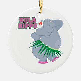 hipopótamo lindo y tonto del hula del luau adorno navideño redondo de cerámica