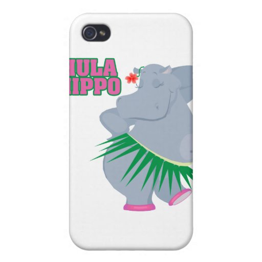hipopótamo lindo y tonto del hula del luau iPhone 4 fundas