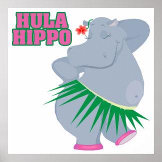 hipopótamo lindo y tonto del hula del luau póster