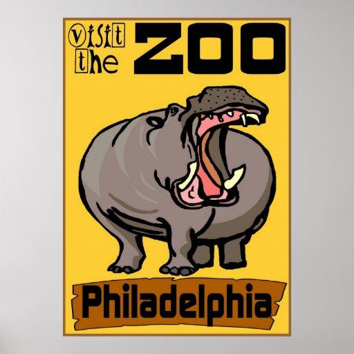 Hipopótamo: Parque zoológico Philadelphia de la vi Poster