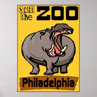 Hipopótamo: Parque zoológico Philadelphia de la vi Póster