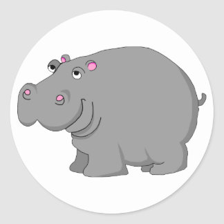 hipopótamo pegatinas redondas