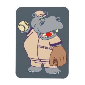 Hipopótamo personalizado lindo del béisbol de los imán flexible