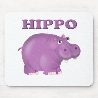 Hipopótamo púrpura alfombrillas de ratón