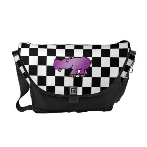Hipopótamo púrpura en inspectores bolsas de mensajería