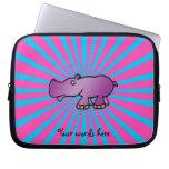 Hipopótamo púrpura en resplandor solar rosado funda ordendadores