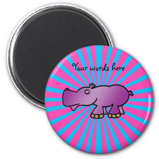 Hipopótamo púrpura en resplandor solar rosado imán para frigorífico