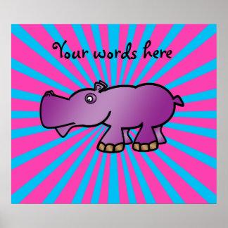 Hipopótamo púrpura en resplandor solar rosado póster