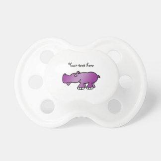 Hipopótamo púrpura lindo chupete de bebé