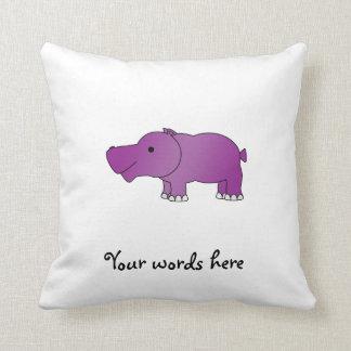 Hipopótamo púrpura lindo almohada