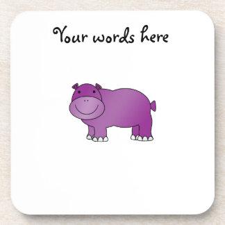 Hipopótamo púrpura lindo posavasos de bebida