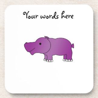 Hipopótamo púrpura lindo posavasos de bebidas