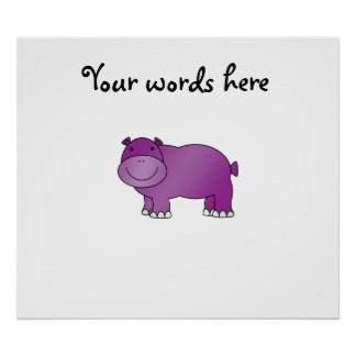 Hipopótamo púrpura lindo póster