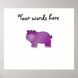Hipopótamo púrpura lindo posters