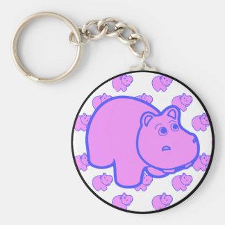 Hipopótamo púrpura llavero redondo tipo pin