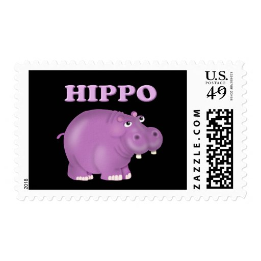 Hipopótamo púrpura timbre postal