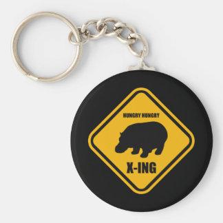 Hipopótamo que cruza la muestra de X-ing Llavero Redondo Tipo Pin