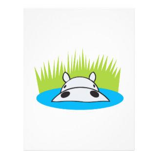 hipopótamo que oculta en agua tarjeta publicitaria
