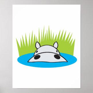 hipopótamo que oculta en agua posters