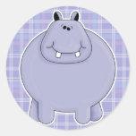 hipopótamo rechoncho lindo pegatina redonda