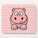 Hipopótamo rosado lindo alfombrilla de ratón