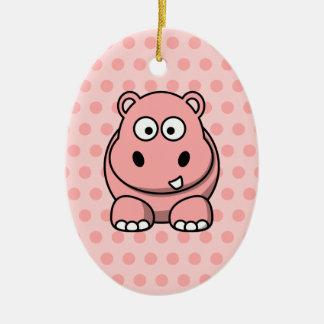 Hipopótamo rosado lindo adorno ovalado de cerámica