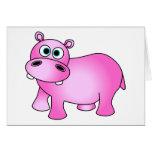Hipopótamo rosado lindo del bebé felicitacion