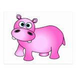 Hipopótamo rosado lindo del bebé tarjetas postales