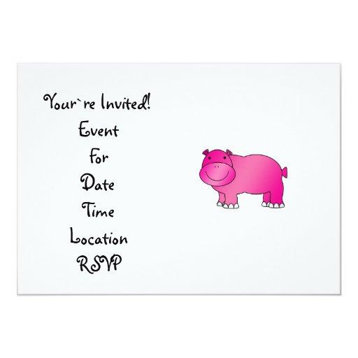 """Hipopótamo rosado lindo invitación 5"""" x 7"""""""