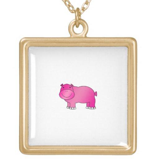 Hipopótamo rosado lindo joyerias personalizadas