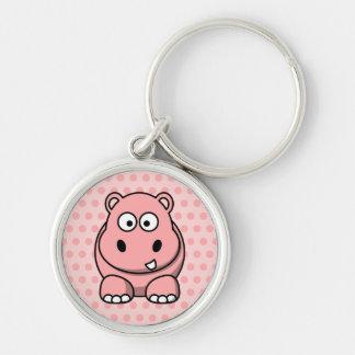 Hipopótamo rosado lindo llavero redondo plateado