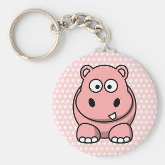 Hipopótamo rosado lindo llavero redondo tipo pin