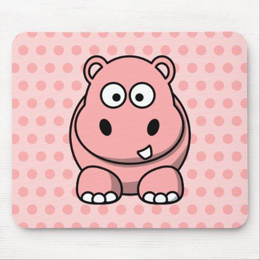 Hipopótamo rosado lindo mousepads
