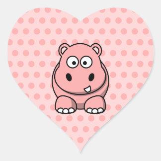 Hipopótamo rosado lindo pegatina en forma de corazón