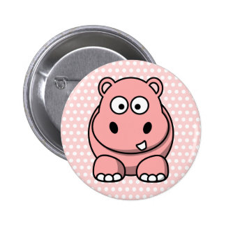 Hipopótamo rosado lindo pin redondo 5 cm