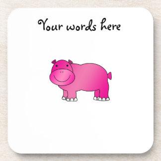 Hipopótamo rosado lindo posavasos de bebidas