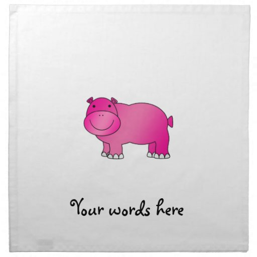 Hipopótamo rosado lindo servilleta de papel