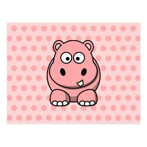 Hipopótamo rosado lindo tarjetas postales