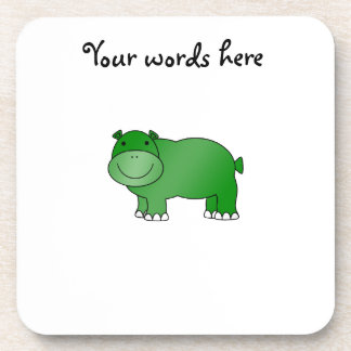 Hipopótamo verde lindo posavaso