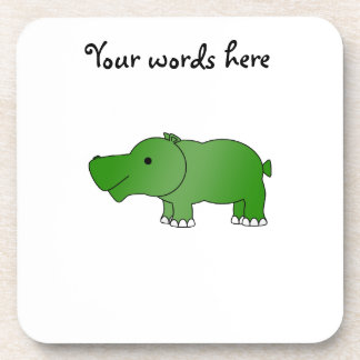 Hipopótamo verde lindo posavasos de bebida