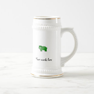 Hipopótamo verde lindo jarra de cerveza
