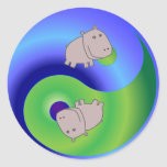 Hipopótamo Yin Yang Pegatinas Redondas