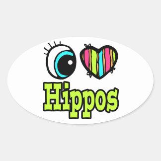 Hipopótamos brillantes del amor del corazón I del Pegatinas De Óval Personalizadas