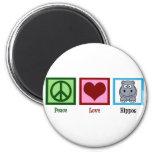 Hipopótamos del amor de la paz imanes